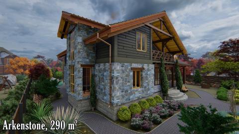 Проект дома в стиле шале Киев, дом из натуральных материалов, эксклюзивные дома Киев, дома из натурального камня Киев,