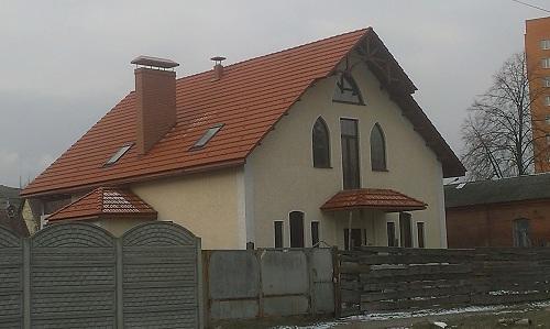 Дом с натуральной черепицей, строительство каркасных домов, деревянный дом Киев,